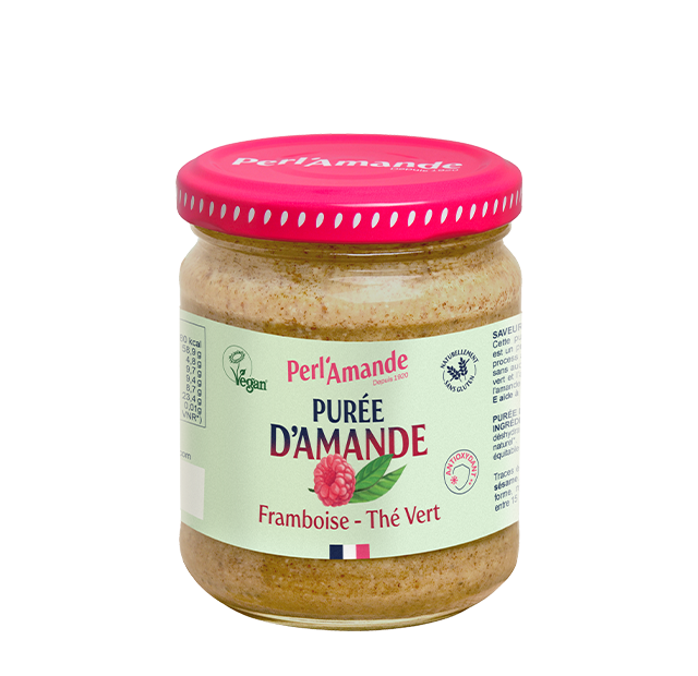 Purée d'amande & fruits - Framboise, Thè vert