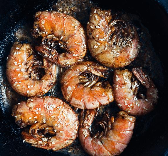 Crevettes au sésame