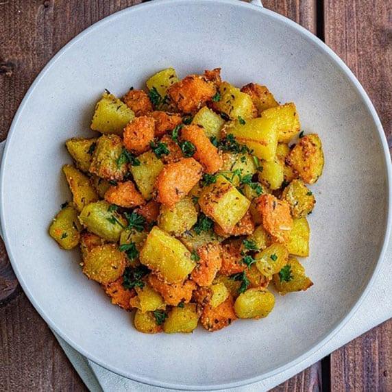 Trio de patates rôties à la purée crue d'amande blanche by BeautyFood Cooking