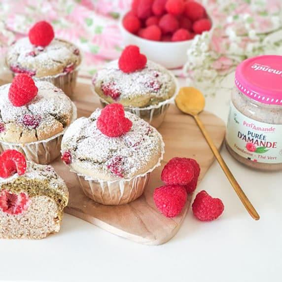 Muffins à la purée framboise thé vert by vie sans gluten