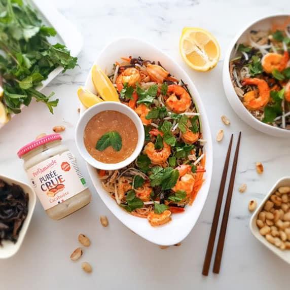 salade de vermicelle à la purée crue cacahuète by Vie sans gluten
