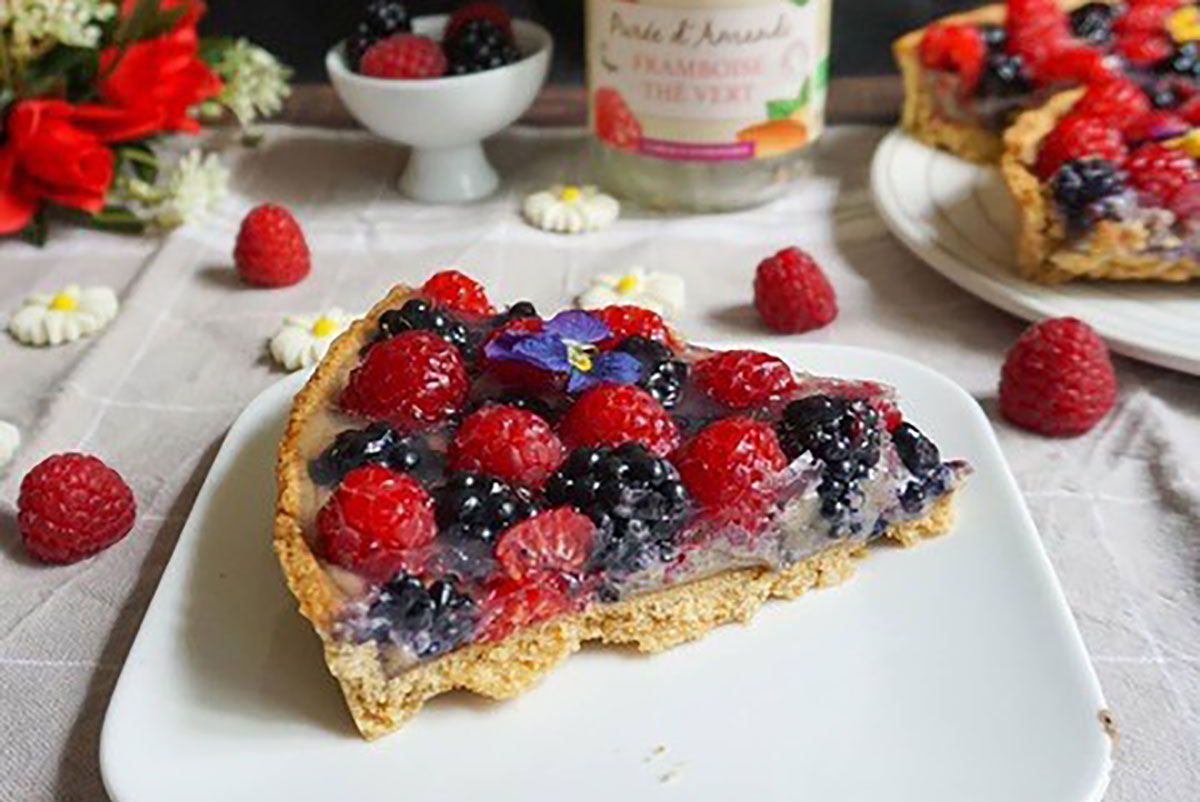 Tarte Fruits rouges à la purée framboise thé vert by Loulou
