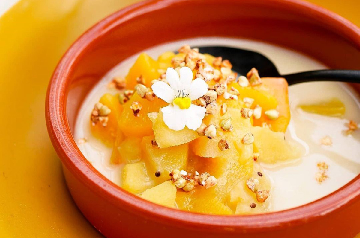 Sabayon aux pêches et tartinade amande orange by Happy and Veggy